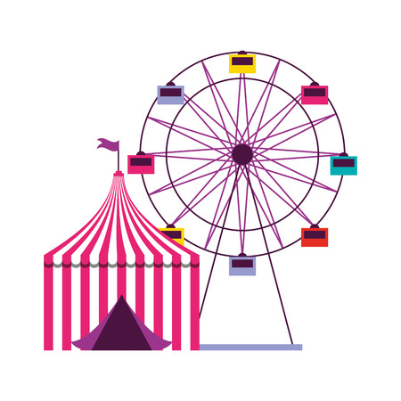 ferris wheel and tent circus carnival vector illustration