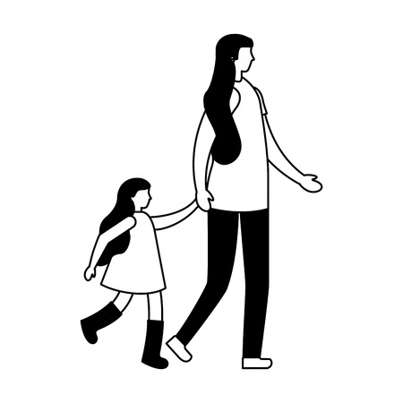 mother with daughter holding hands vector illustration