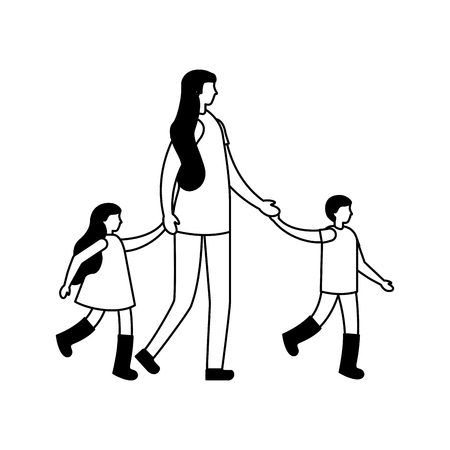 mother holding hands her son and daughter vector illustration
