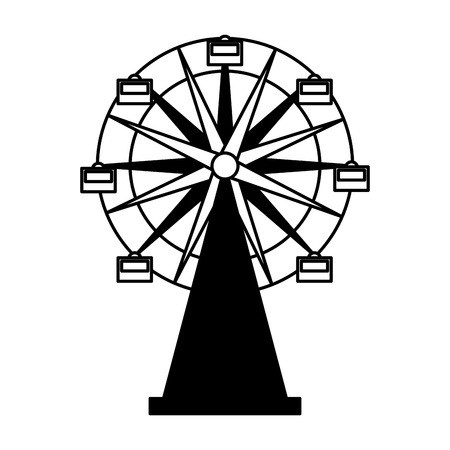 ferris wheel carnival on white background vector illustration