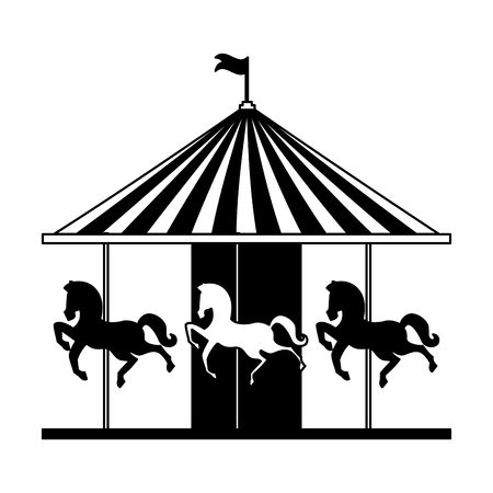 carousel horses fun fair circus carnival vector illustration