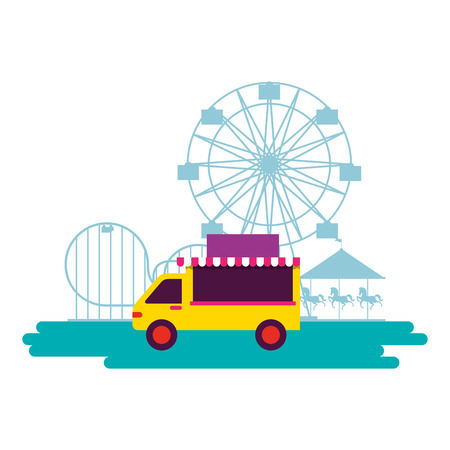 truck food circus fun fair carnival vector illustration