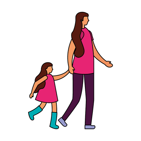 mother with daughter holding hands vector illustration Archivio Fotografico - 111413111