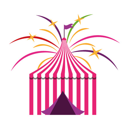 tent with flag fireworks circus carnival vector illustration