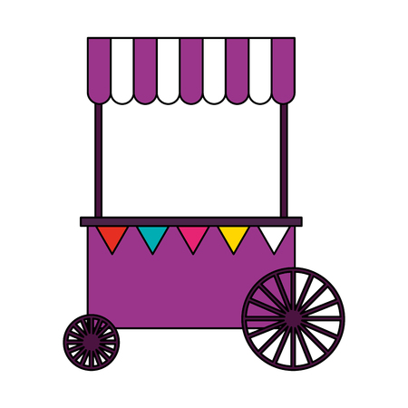 booth with wheels circus carnival vector illustration Ilustrace
