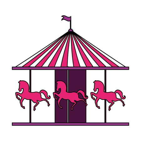 karuzela konie wesołe miasteczko cyrkowe karnawał ilustracja wektorowa