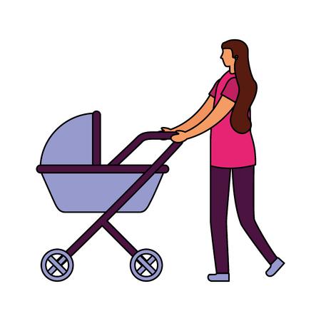 mom pushing baby pram on white background vector illustration