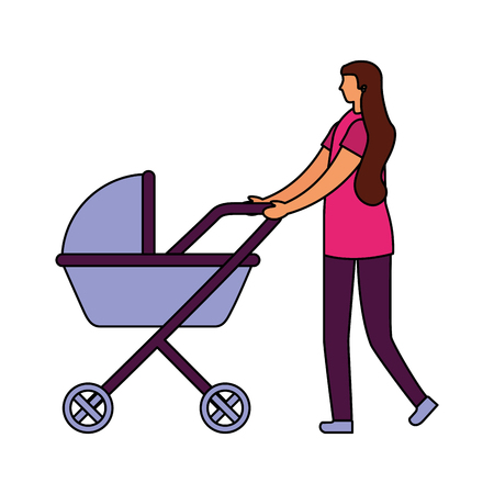 mom pushing baby pram on white background vector illustration