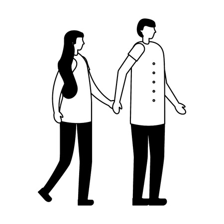 couple holding hands in the city vector illustration Illustration
