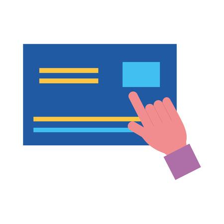 hand click bank credit card online shopping vector illustration