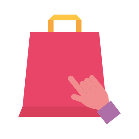 hand click online shopping bag vector illustration