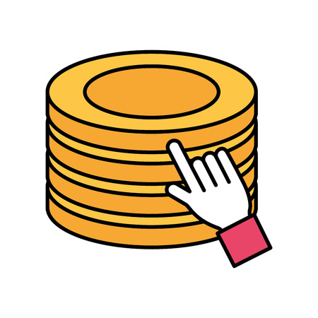 hand click stack coins online shopping vector illustration