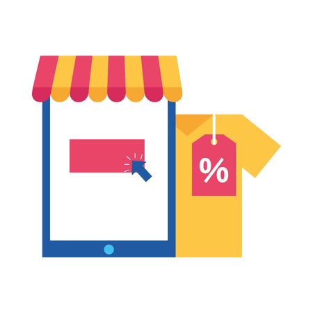 mobile shirt discount offer online shopping vector illustration