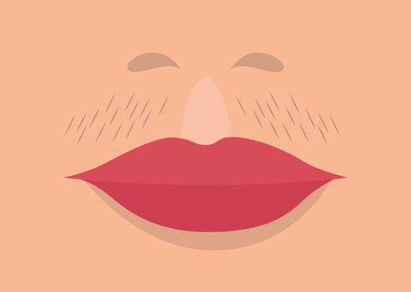 female lips with mustache vector illustration design Illusztráció