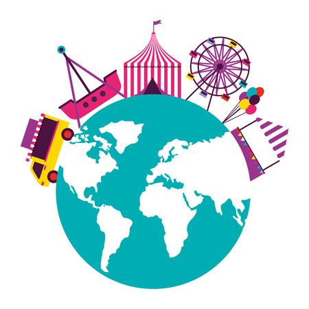 world tent balloons truck food fun fair carnival vector illustration