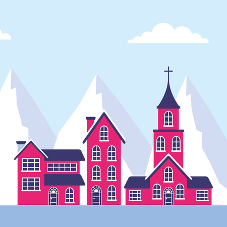 winter landscape houses church mountains vector illustration