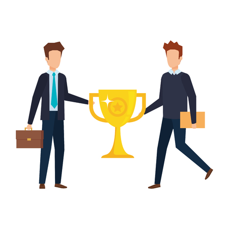 businessmen with trophy cup award icon vector illustration design Stock Illustratie