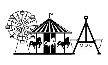ferris wheel carousel and pirate boat fun fair carnival vector illustration
