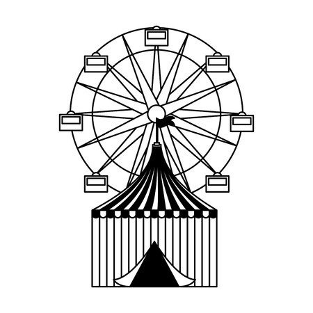 tent and ferris wheel fun fair carnival vector illustration