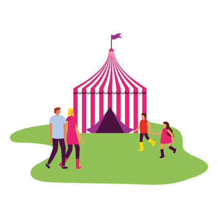 family and circus tent fun fair carnival vector illustration