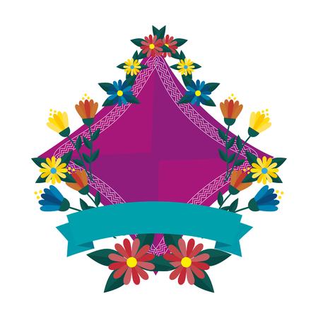 elegant frame with flowers and ribbon vector illustration design Reklamní fotografie - 111393890