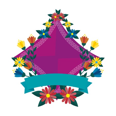 elegant frame with flowers and ribbon vector illustration design