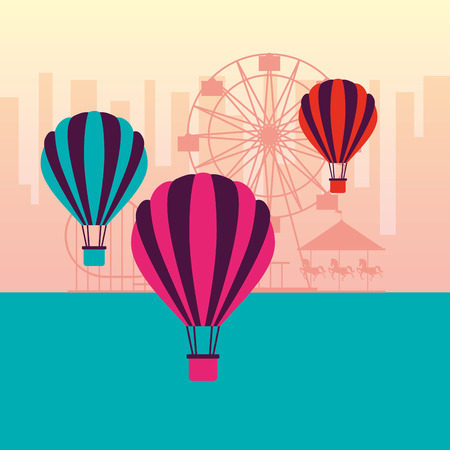 hot air balloons ferris wheel fun fair carnival vector illustration