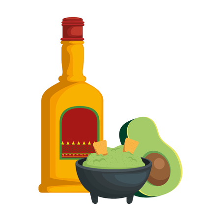 avocado with guacamole sauce and tequila vector illustration design
