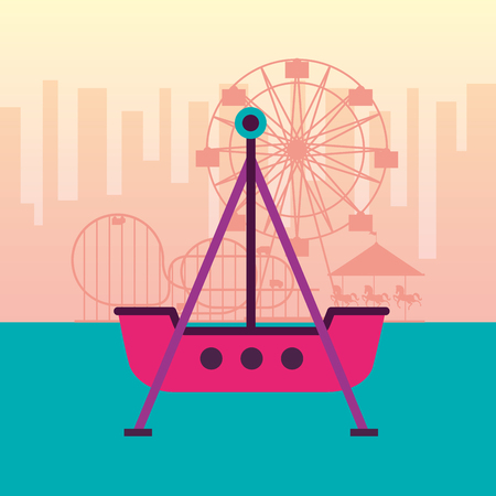 boat pirate ferris wheel roller coaster fun fair carnival vector illustration