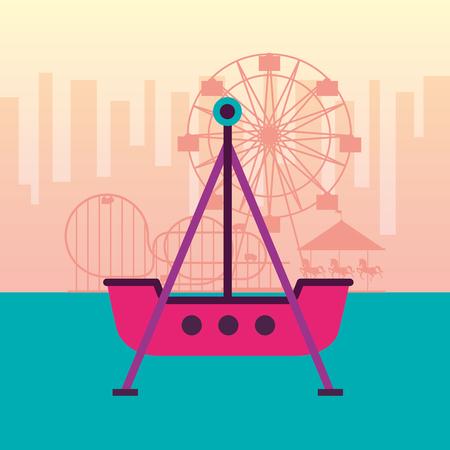 boat pirate ferris wheel roller coaster fun fair carnival vector illustration