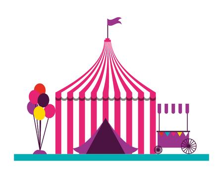 Stand de ballons tente fête foraine carnaval vector illustration Vecteurs