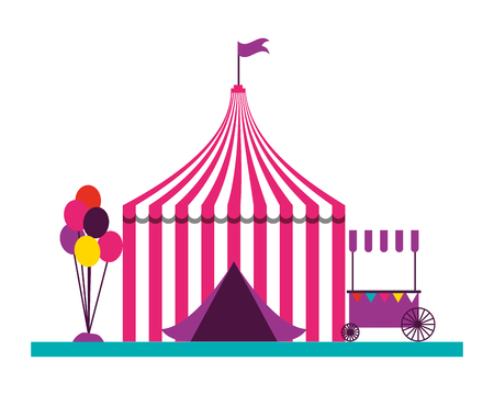 tent balloons booth fun fair carnival vector illustration