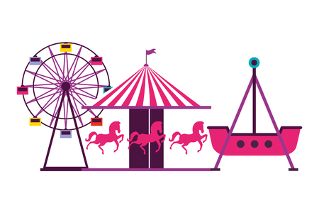 ferris wheel carousel and boat pirate fun fair carnival vector illustration