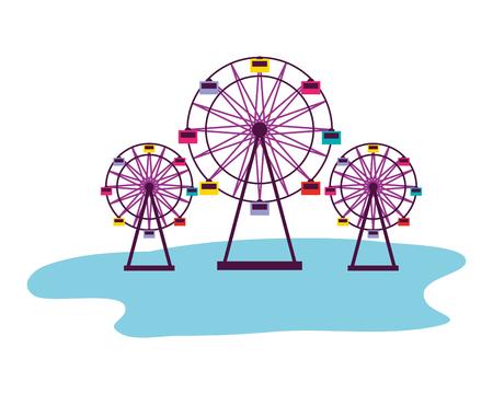 three ferris wheel fun fair carnival vector illustration