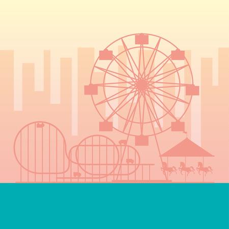 ferris wheel roller coaster carousel fun fair carnival vector illustration 向量圖像