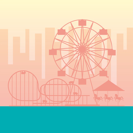 ferris wheel roller coaster carousel fun fair carnival vector illustration Illustration