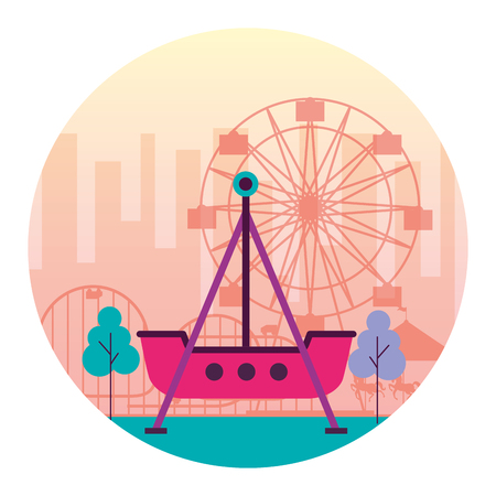 boat pirate and ferris wheel fun fair carnival vector illustration