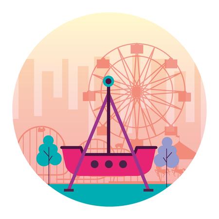 boat pirate and ferris wheel fun fair carnival vector illustration