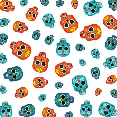 masks of the santa death pattern vector illustration design