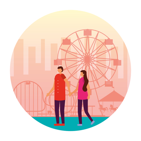couple holding hands in the fun fair carnival vector illustration 일러스트