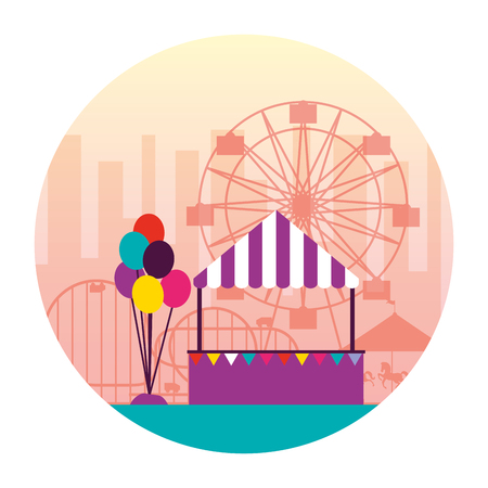 booth balloons ferris wheel fun fair carnival vector illustration Stock Vector - 111395803