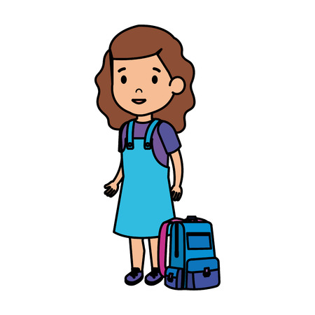 beautiful little schoolgirl with schoolbag vector illustration design 일러스트