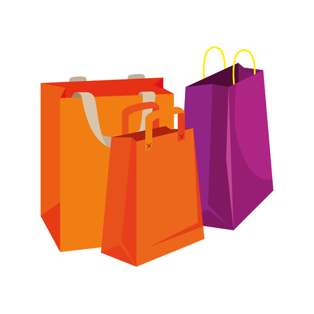 three shopping bags isolated icon vector illustration design