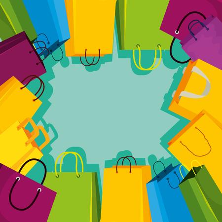 shopping bags frame icon vector illustration design