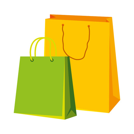 shopping bags with laptop vector illustration design