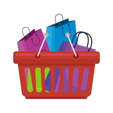 shopping basket with bags vector illustration design Illustration