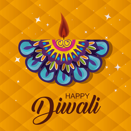 diwali mandala candle to light festival vector illustration
