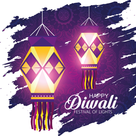 diwali lanterns to hindu lights festival vector illustration