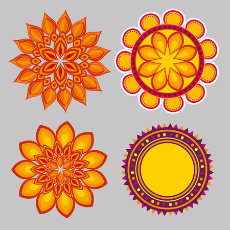set diwali flowers mandalas to seal decoration vector illustration  イラスト・ベクター素材