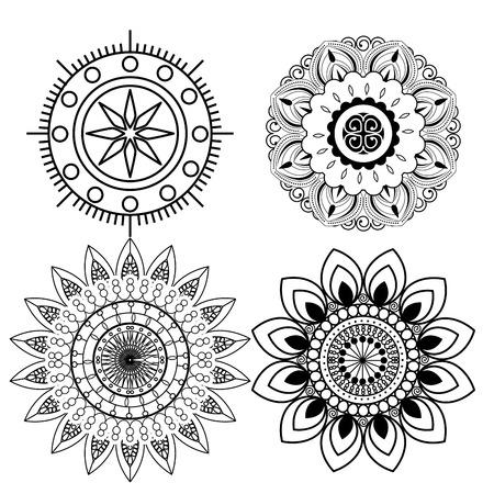 set outline diwali flowers mandalas to seal decoration vector illustration